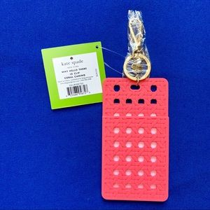 Kate Spade Why Hello There ID Clip - Coral
